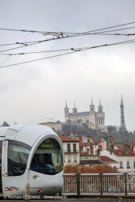 Trams are part of public transport in Lyon, France. It's a cleaner alternative to cars.