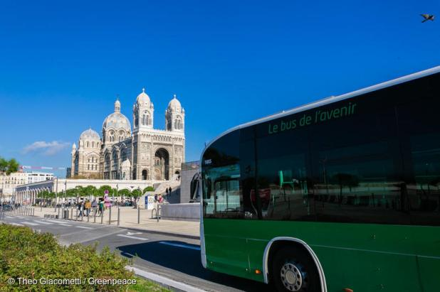 Buses are part of public transport in Marseille, France. It's a cleaner alternative to cars.